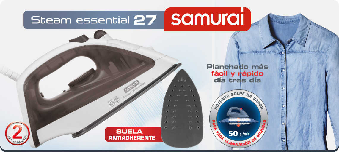 Plancha de ropa Samurai Steam Essential 27 negro