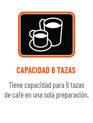6 tazas de café en una solo preparación.