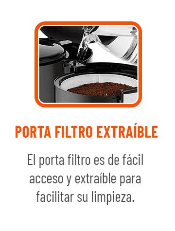 Porta filtro extraible y facilita su limpieza.