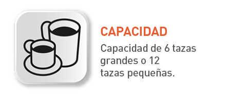 6 tazas de café o 12 tazas pequeñas.