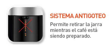 Sistema antigoteo, puedes retirar la jarra sin tener derrames.